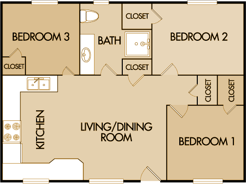 3 Bed, 1 Bath